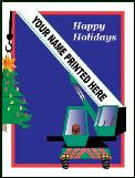 Crane holidng Christmas tree Holiday greeting card