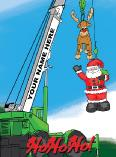 Crane Lifting SantaChristmas Holiday Greeting Card