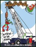 Crane Santa sees you bleeping Holiday greeting card