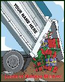 dump truck back end with presents holiday greeting card