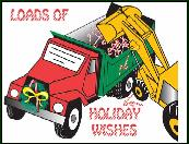 Dump truck loads of wishes holiday greeting card