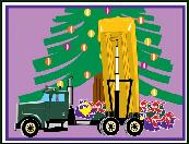 Dump truck under Christmas tree holiday greeting card