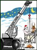 Crane with concrete hot tub Holiday greeting card