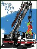 Crane haning stockings Holiday greeting card