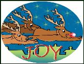 Reindeer flying with joy holiday greeting card