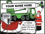 Santa gassing up crane Holiday greeting card
