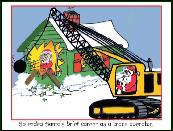 Crane with Santa wrecking house Holiday greeting card