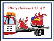 Towing roll back truck holiday greeting card