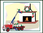 Truck crane hanging stocking Holiday greeting card