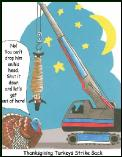 Crane hanging pilgrim Holiday greeting card