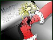 Santa hands welding holiday greeting card